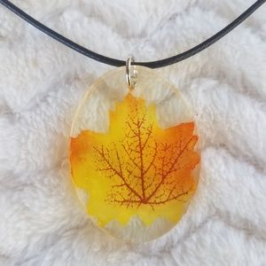 Autumn Leaf (Yellow) Necklace, Handcrafted NWOT